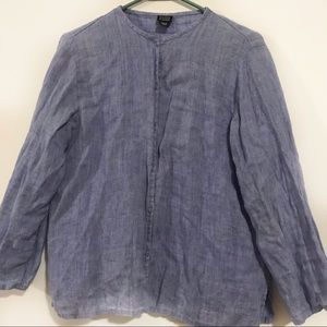 EILEEN FISHER Blue Linen Chambray Shirt Button Up